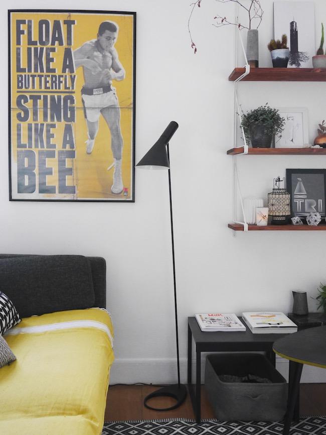 decoration scandinave minimaliste vintage et retro salon noir