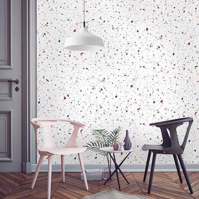 papier peint effet mouchete marbre terrazzo granito pierre