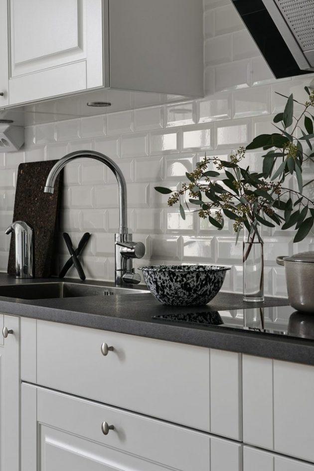 cuisine blanche carrelage metro minimalisme scandinave