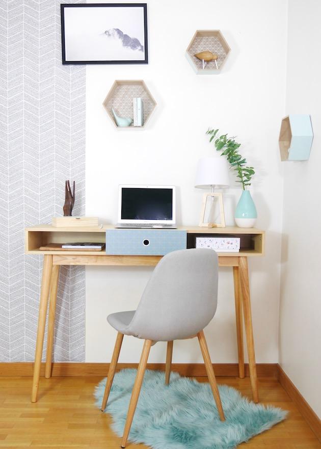 aménager un coin bureau scandinave par BUT dans un studio