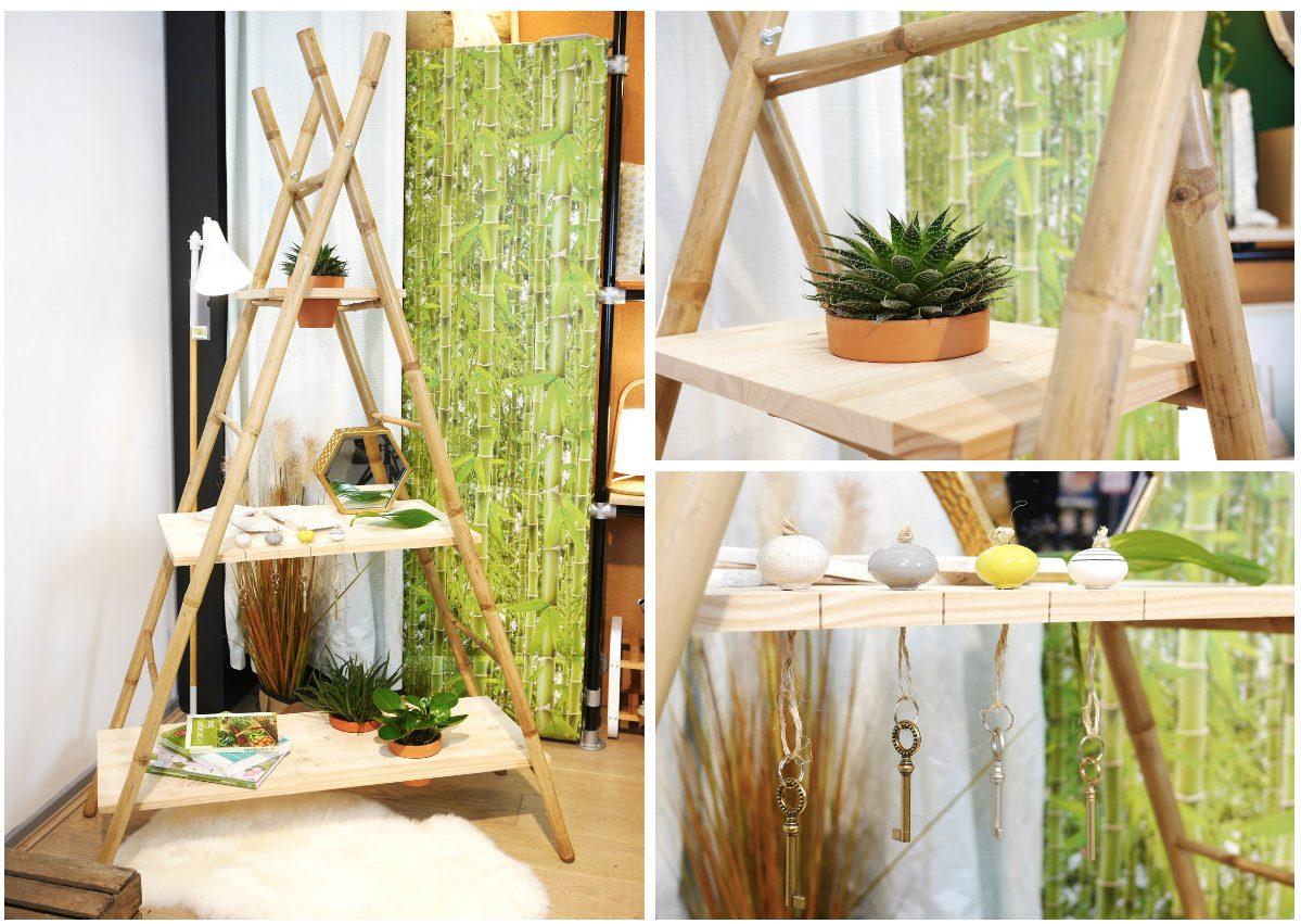 idée de fabriquer une étagère échelle à partir de leurs jolis porte-serviettes en bambou