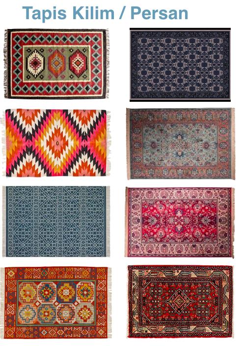 comparaison motif tapis persan et kilim couleurs