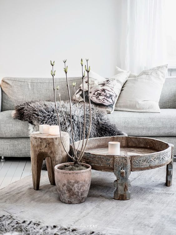 salon gris blanc ambiance cosy scandinave