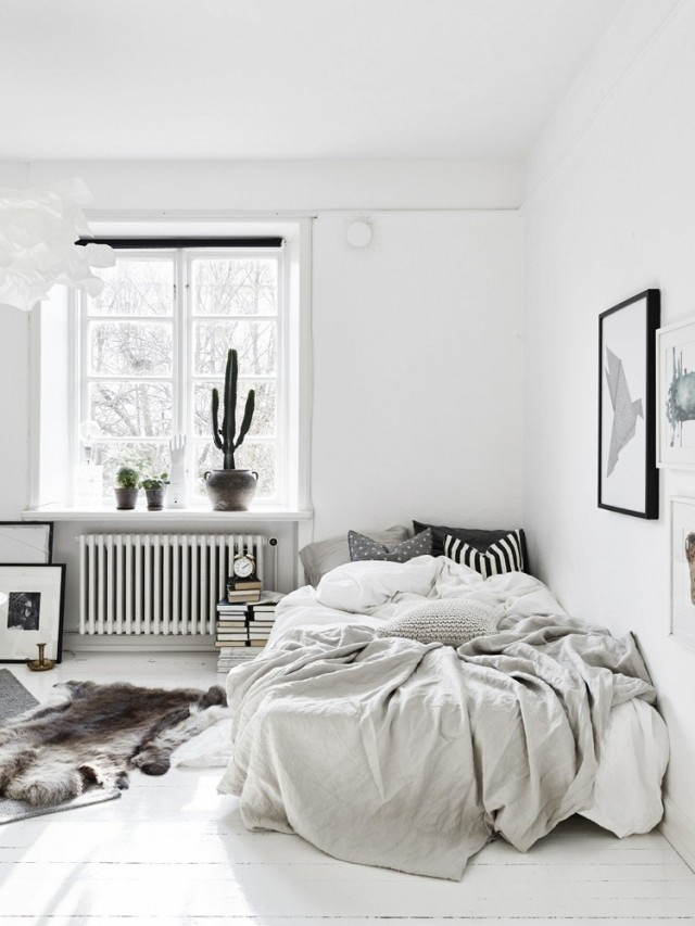 chambre ambiance cosy style scandinave toute blanche
