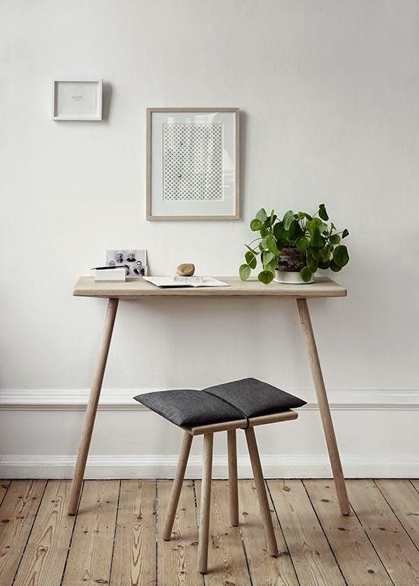 coin bureau minimaliste maison home office pilea peperomioides