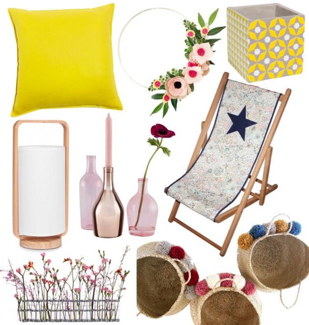 déco printemps couleur chaude rose jaune citron liberty