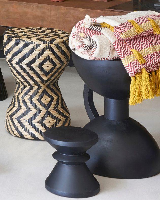 la redoute deco boho tabouret table basse rotin