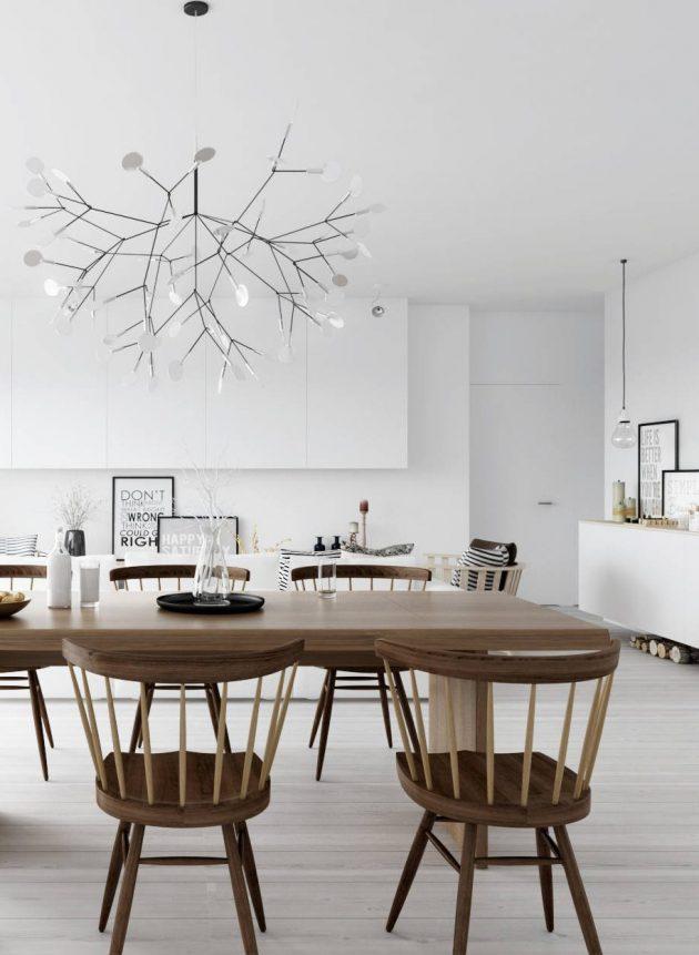 salle à manger ambiance cosy et minimaliste retro