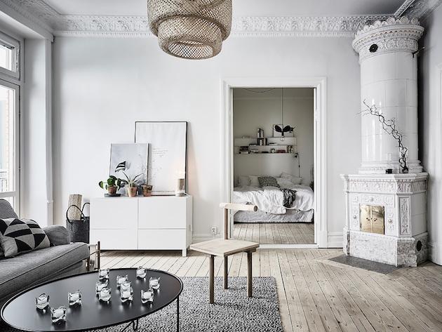 séjour noir et blanc gris retour à Göteborg