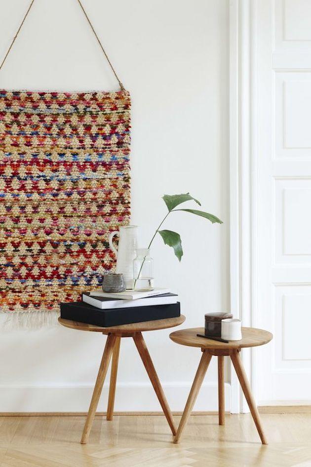 søstrene grene table bois basse ronde tissage mural style persan tapis
