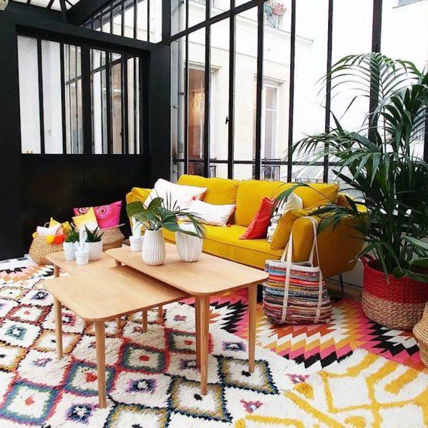 la redoute deco canape jaune verriere atelier loft