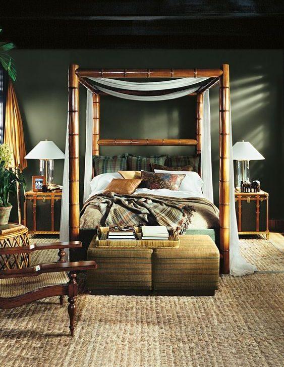 chambre tropicale refuge lit bois plantes vert foncé