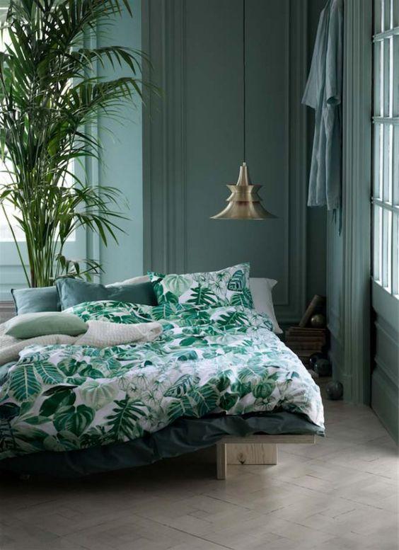 mur bleu turquoise sobre chambre tropicale