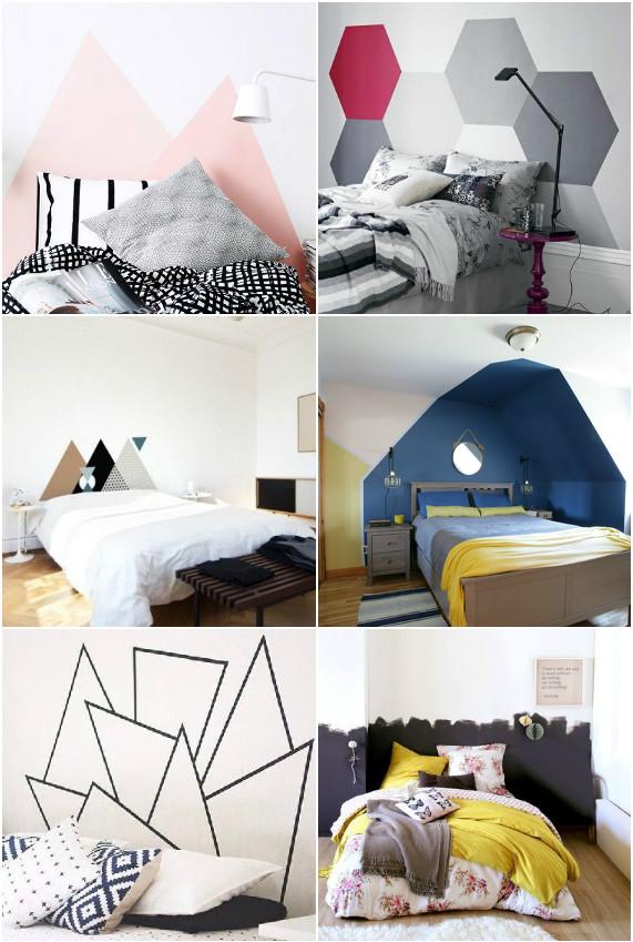 tete de lit en peinture forme geometrique