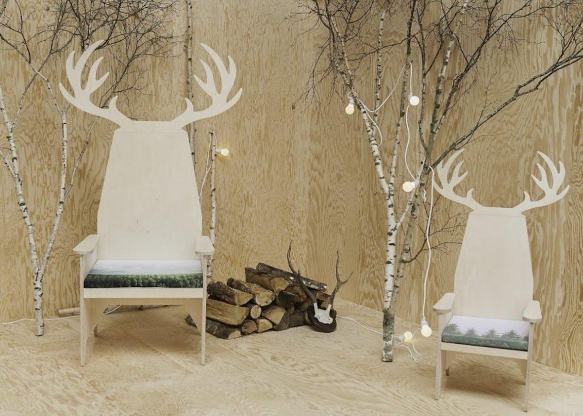 blomkal fauteuil tete de renne deco bois clematc