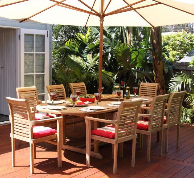 table teck entretien dejeuner soleil parasol rouge
