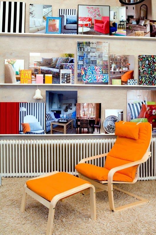 fauteuil poang original en orange coin lecture style années 70