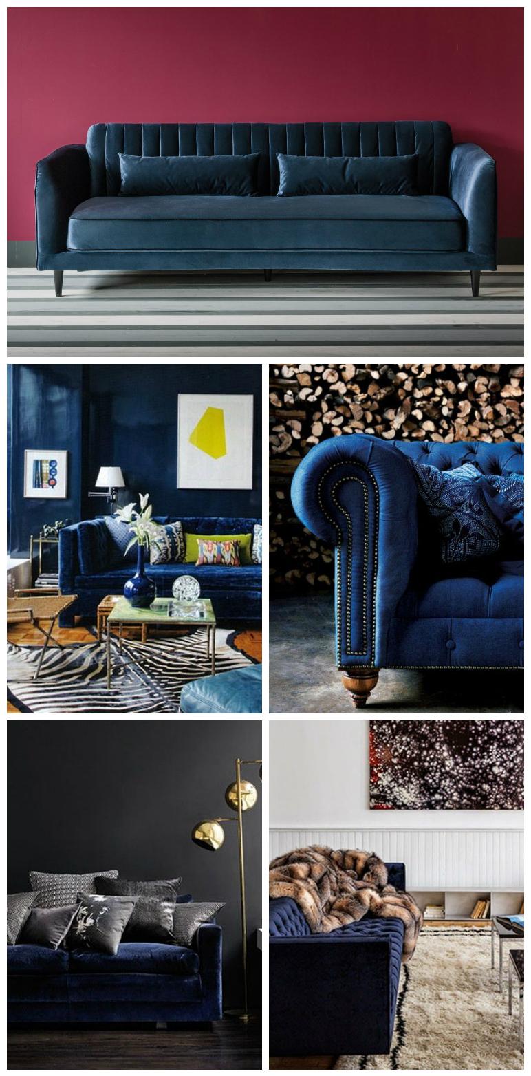canapé en velours bleu canard salon moderne
