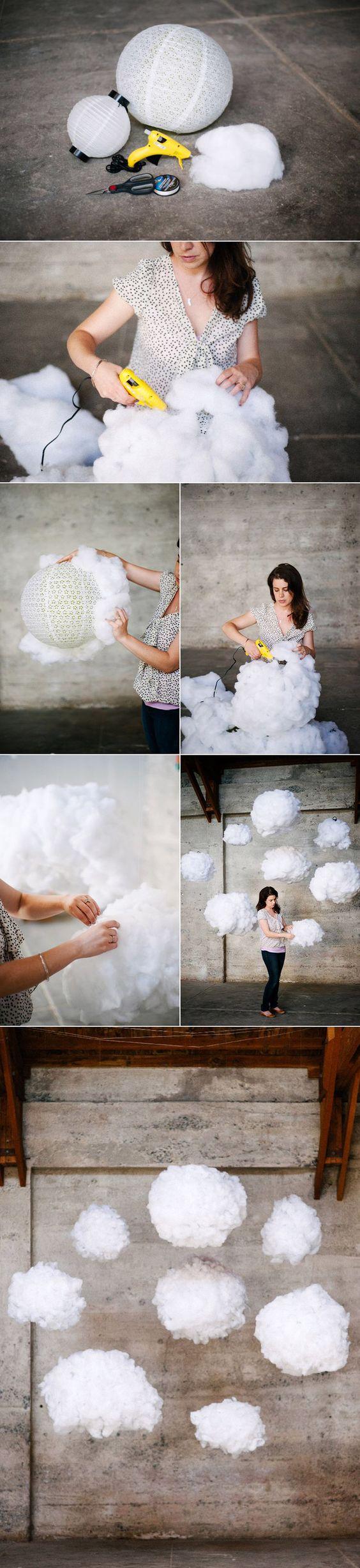 suspension luminaire nuage boule colle coton tutoriel
