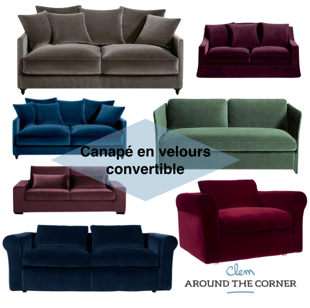 canap en velours tendance d co clemaroundthecorner. Black Bedroom Furniture Sets. Home Design Ideas