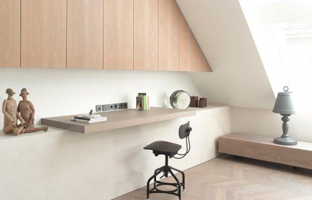coin bureau sous les toits style minimaliste