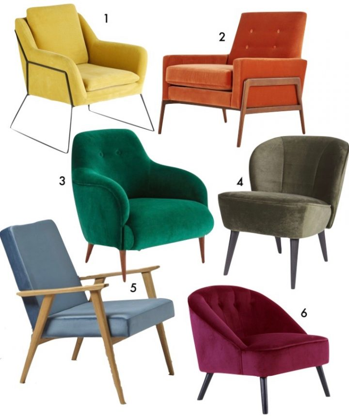 fauteuil velours multicolore orange jaune moutarde deco vintage blog clem around the corner