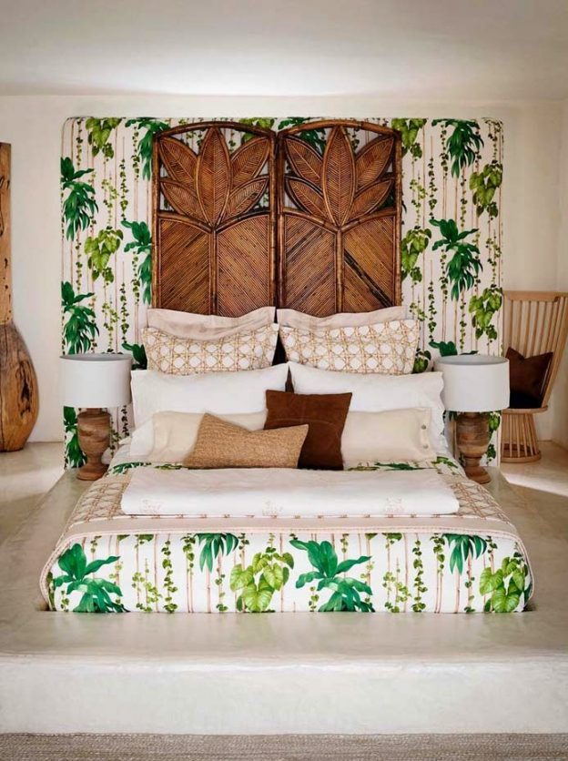 pan mur chambre tropicale vert assorti