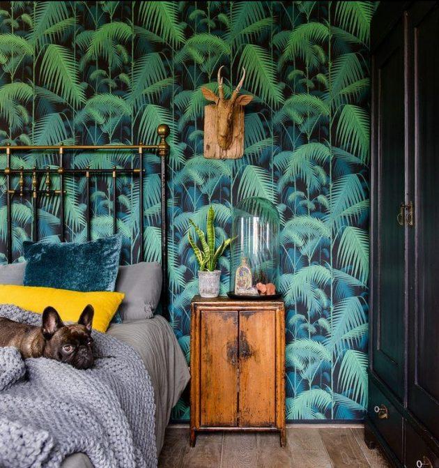 chambre tropicale pan de mur feuilles vert bois