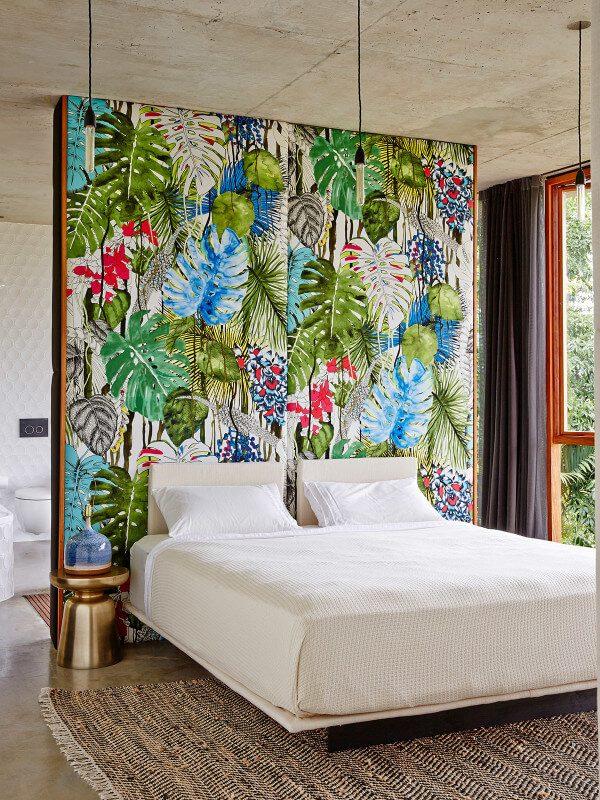 chambre tropicale mur multicolor