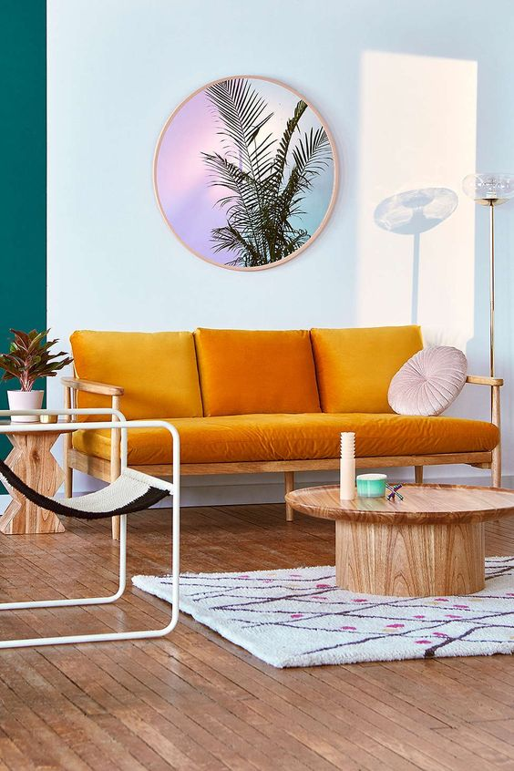 salon style annees 60 moderne et colore