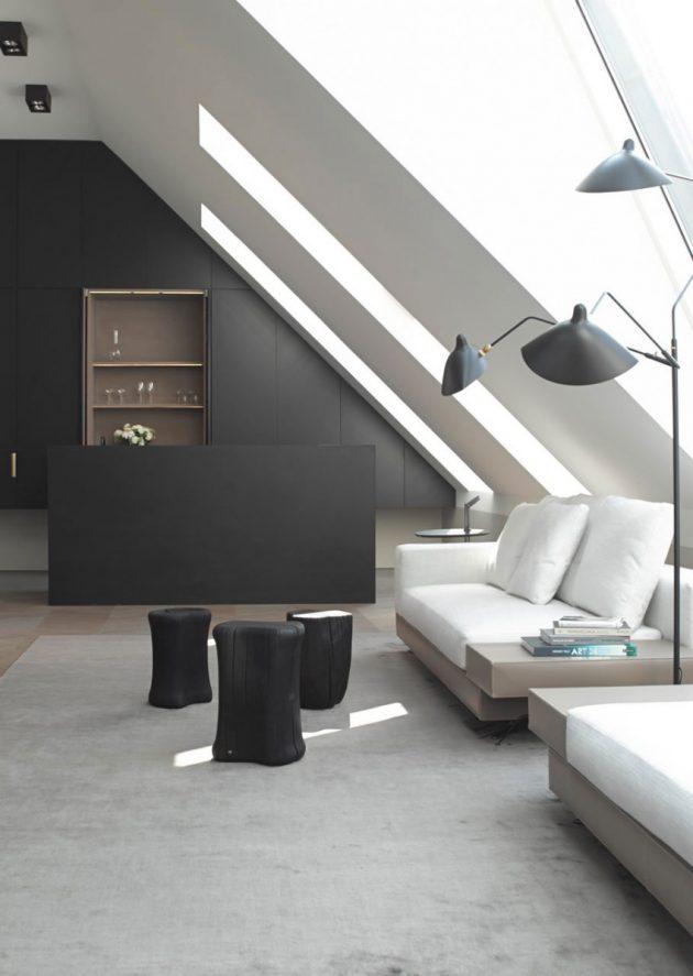salon noir blanc deco minimaliste sous les toits