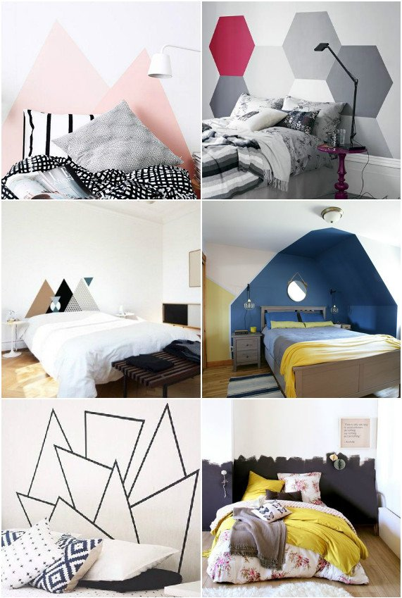 cr er une tete de lit en peinture 20 inspirations canons. Black Bedroom Furniture Sets. Home Design Ideas