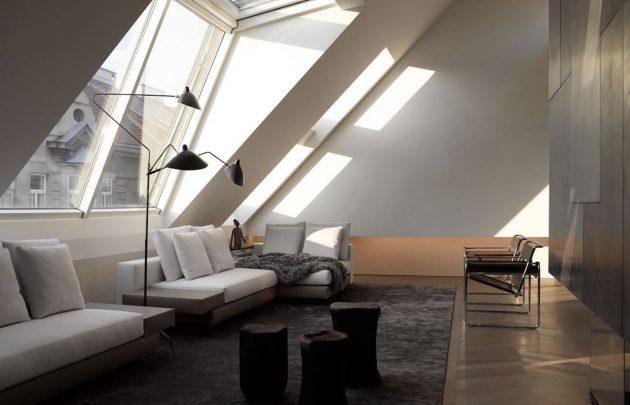 appartement minimaliste sous les toits visite d co clematc. Black Bedroom Furniture Sets. Home Design Ideas