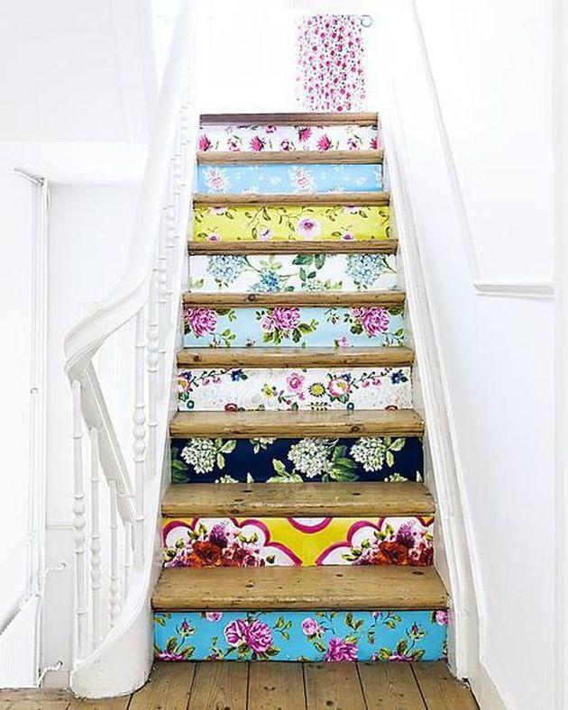 diy escalier décoration bohème