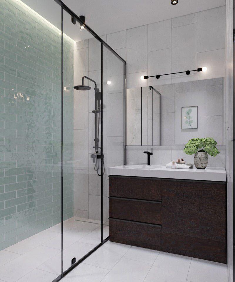 salle de bain loft mur vert d'eau zellige clemaroundthecorner.com