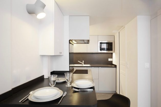 cuisine noir blanc studio 19m2 paris