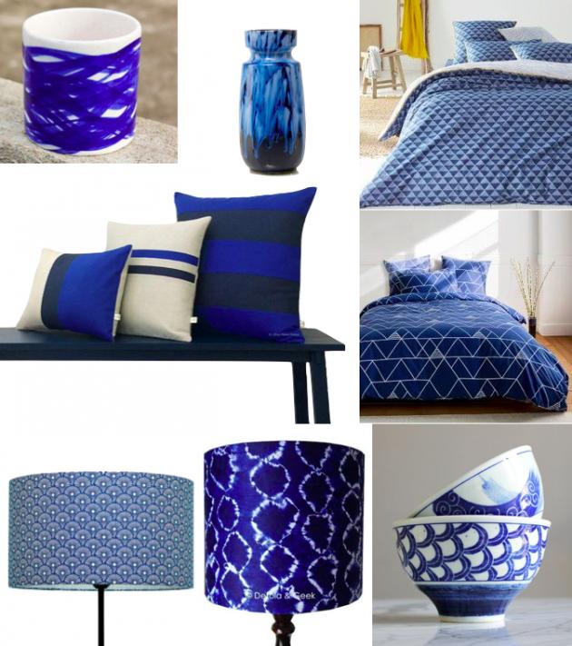 deco bleu indigo chambre lit lampe
