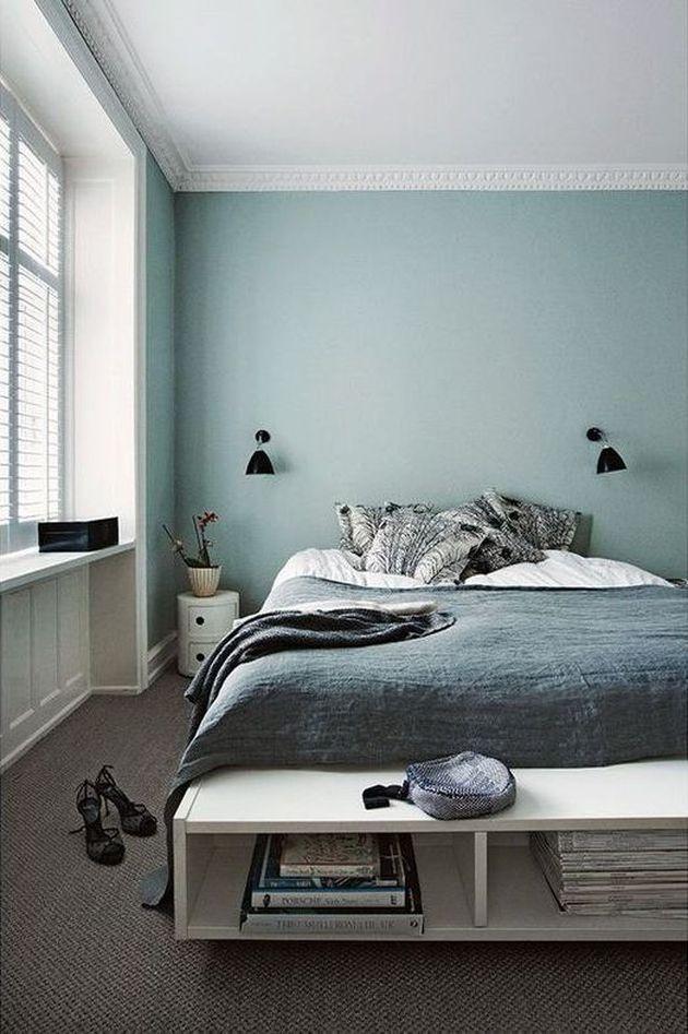 chambre masculine bleu clair et blanc
