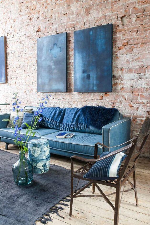 ameublement de couleur bleu indigo canape chaises