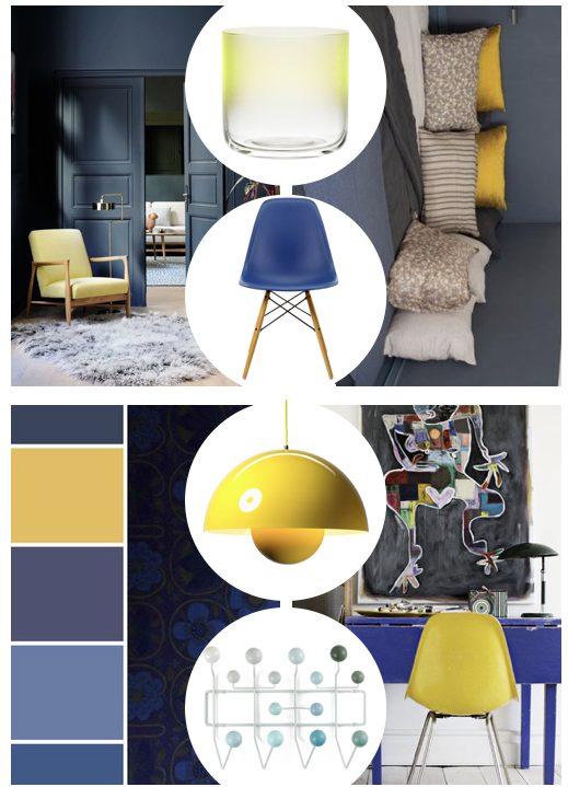 idées cadeaux fête des mères décoration indigo et jaune moutarde intérieur