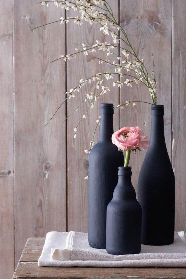 fabriquer un vase deco avec une bouteille en verre