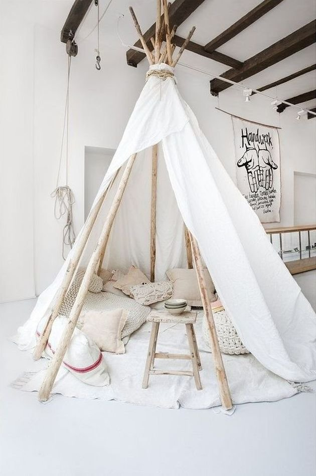 tipi blanc chambre enfant décoration bohème