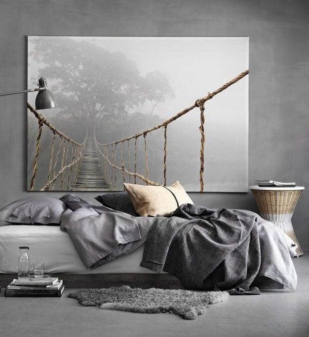 chambre masculine murs gris decoration