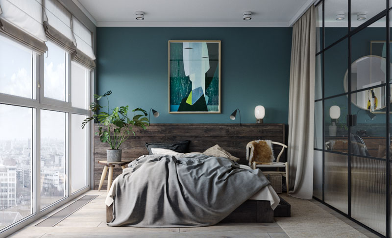 mur bleu canard et style loft blog d co clem around the corner. Black Bedroom Furniture Sets. Home Design Ideas