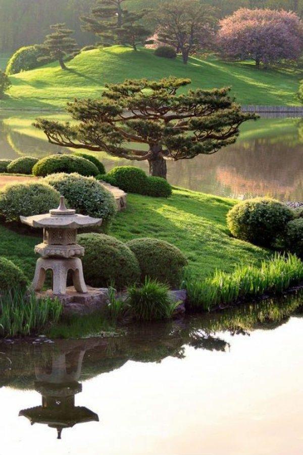 idee jardiniere jardin japonais au bord de l'eau