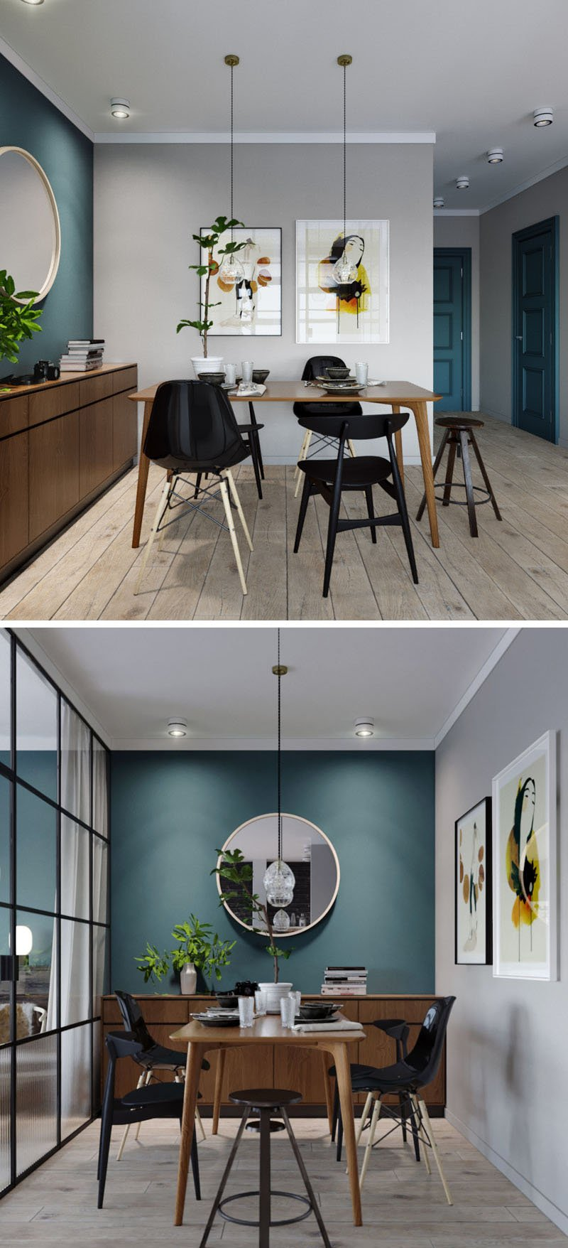 Mur bleu canard et style loft blog d co clem around for Salle a manger bleu canard