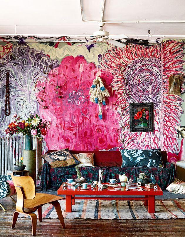 décoration bohème pour salon coloré