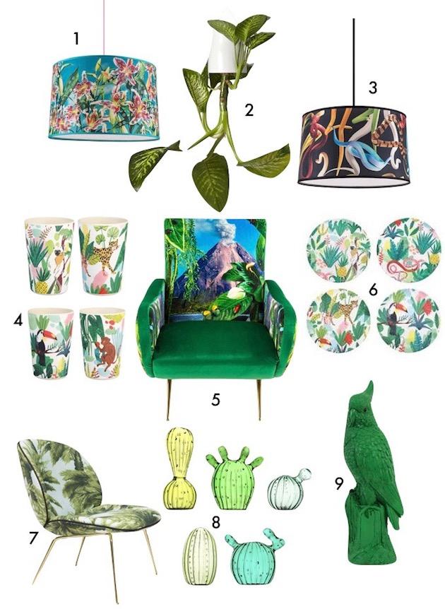 tendance tropicale salon motif tissu fauteuil feuille palmier vert