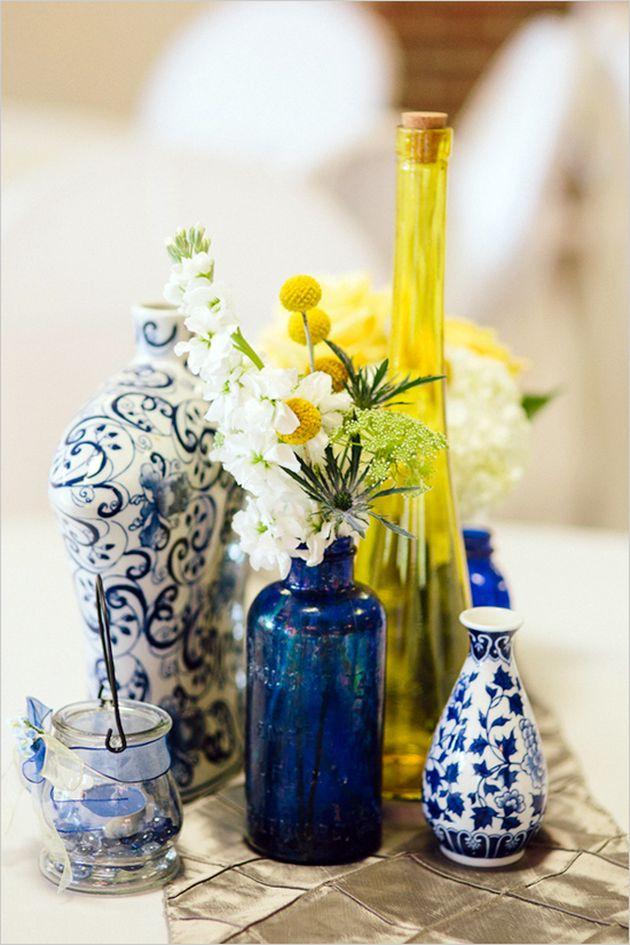 vaiselle vase jaune et bleu indigo