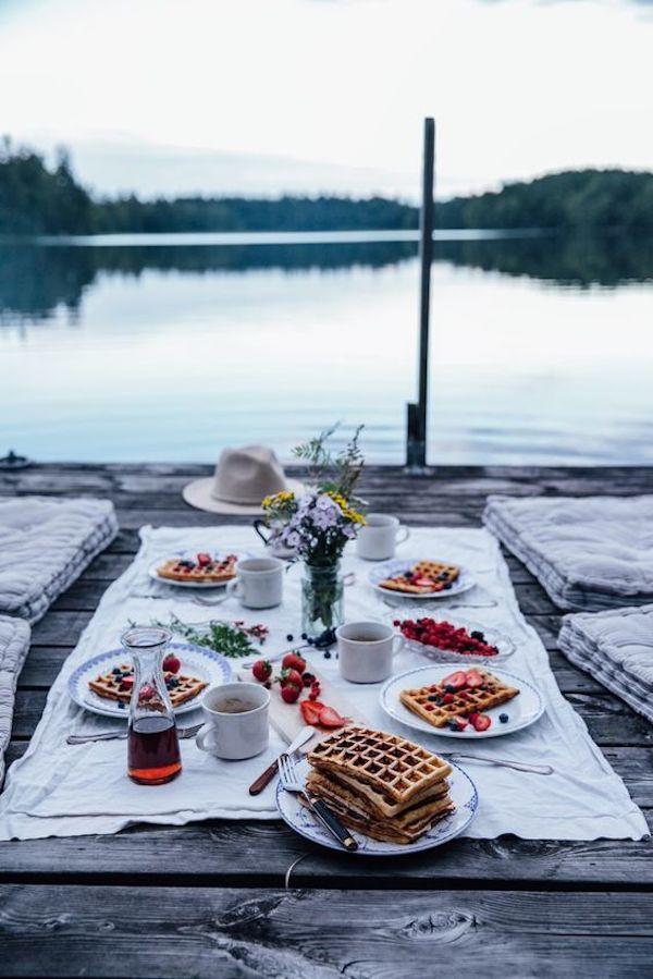 pique nique champetre campagne lac barque